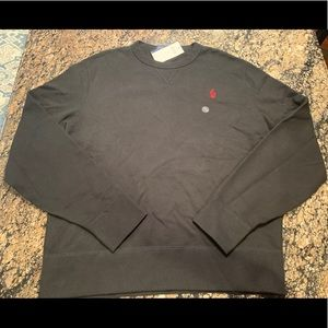 RALPH LAUREN Size L Black Red polo Pony Sweatshirt